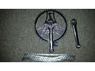 Raleigh Chopper Mk 1 Re Chromed Chain Wheel, Crank Arm, R Pins and Shiney new chain Fantastic Cond