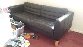 Black leather 2&3 seater | United Kingdom | Gumtree