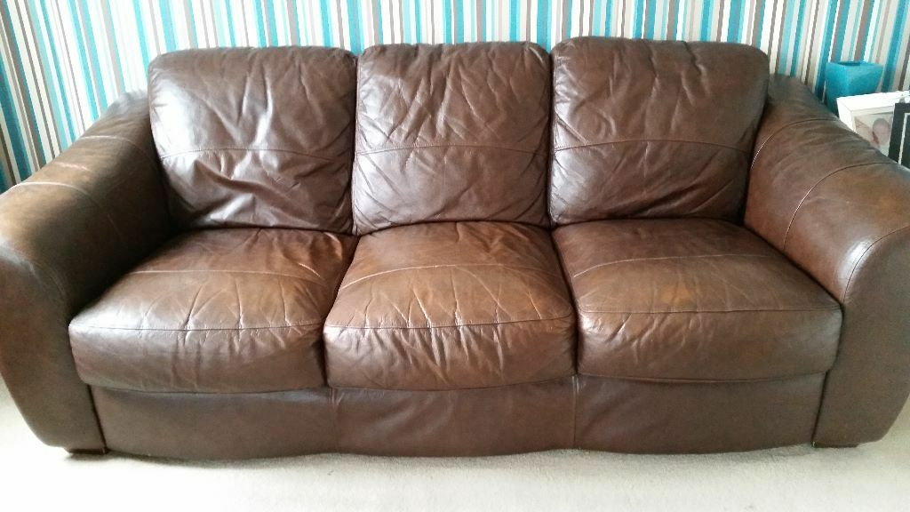 the pair - Brown Leather Sofas 3 seater and matching 2 seater for sale