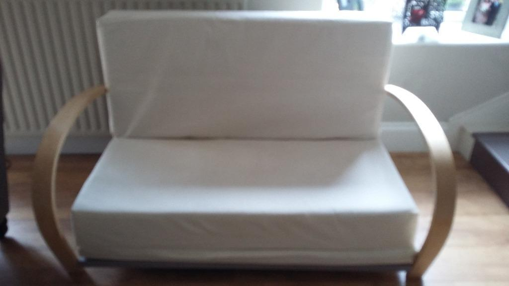 double sofa bed cream with removable cushions good