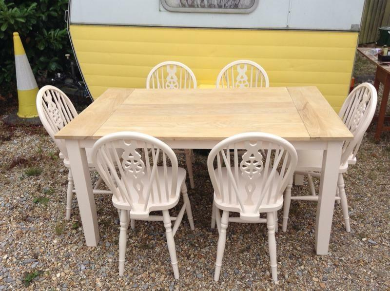 country kitchen dining table and 6 vintage upcycled wheel back chairs