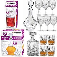 DECANTER SET WHISKY SHERRY LIQUOR WINE GLASSES TUMBLERS DRINKS BRANDY GLASS NEW