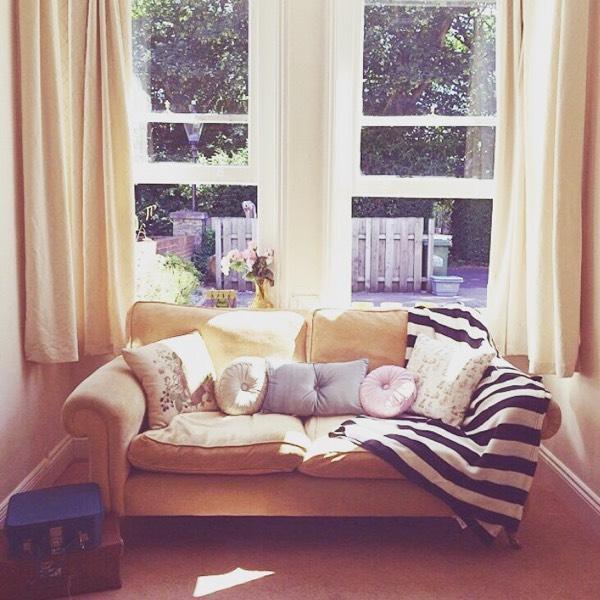 Vintage Laura Ashley Yellow Velvet Sofa United Kingdom