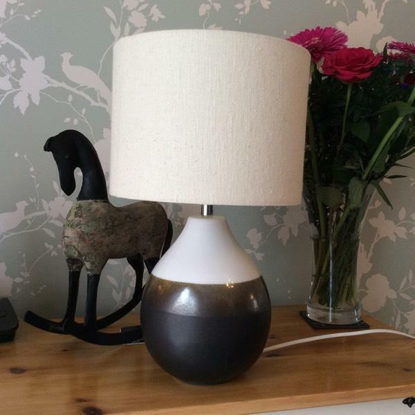 Table Lamp Light Ceramic Base Browns Cream Shade