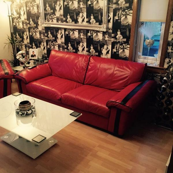 Red And Black Leather Sofa And Chair United Kingdom