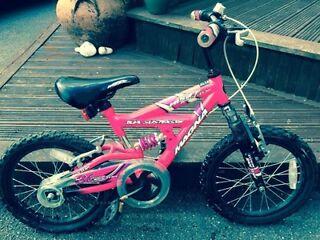 "Little Girls Pink 16"" Dual Suspension Bike"