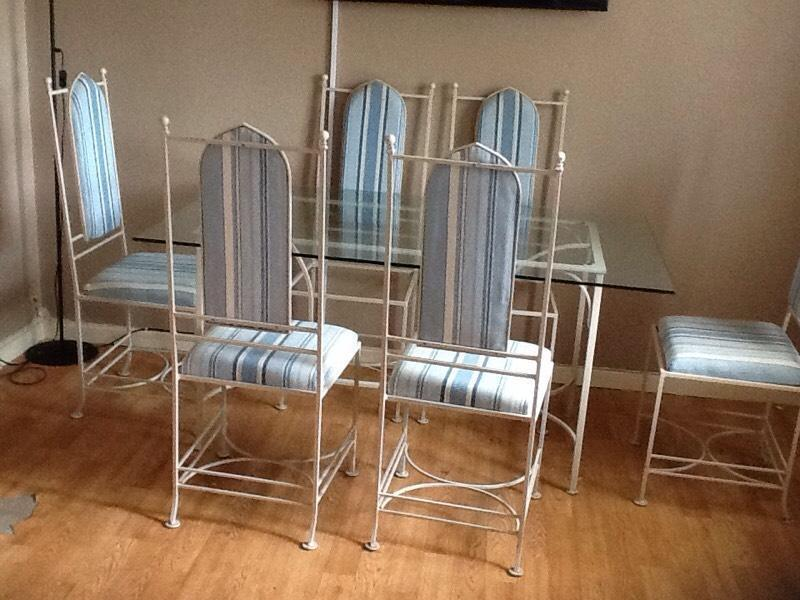 Bespoke wrought iron glass table and chairs united kingdom gumtree Bespoke glass furniture