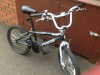 Black and blue rhino bmx bike
