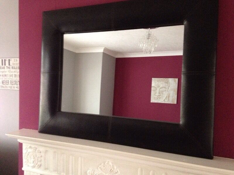 Brown Faux Leather Mirror Brown Faux Leather Mirror