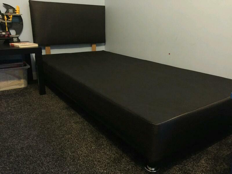 2 black divan bed base with headboard united kingdom for Divan bed base sale