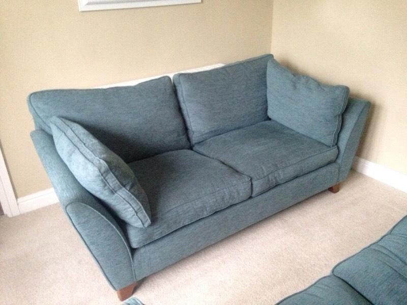 Pair of m s barletta sofas in teal very good condition for Teal sofas for sale