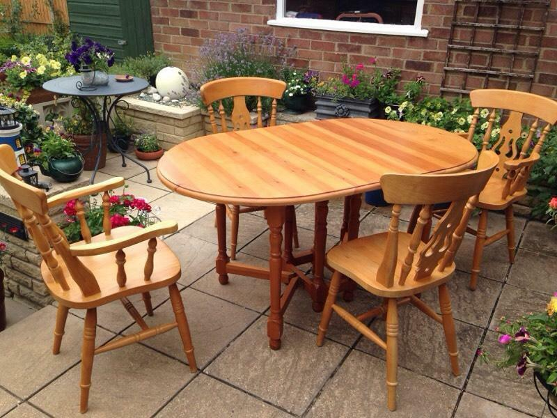 Solid Pine Drop Leaf Table And Chairs United Kingdom Gumtree