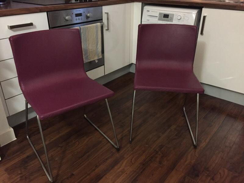 2 purple leather ikea bernhard dining chairs united kingdom gumtree - Purple dining chairs ikea ...