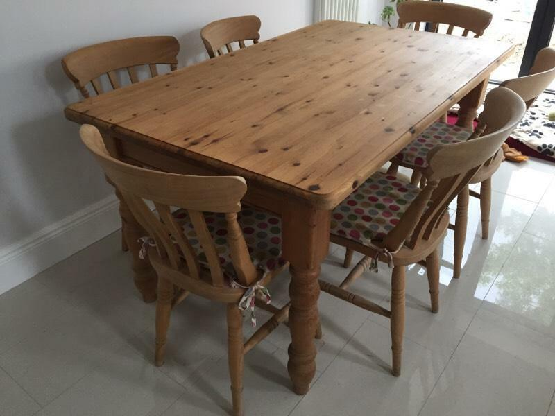 solid pine farmhouse dining table with six chairs for sale united