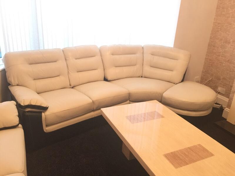 Brand new cream and black corner leather sofa | United Kingdom