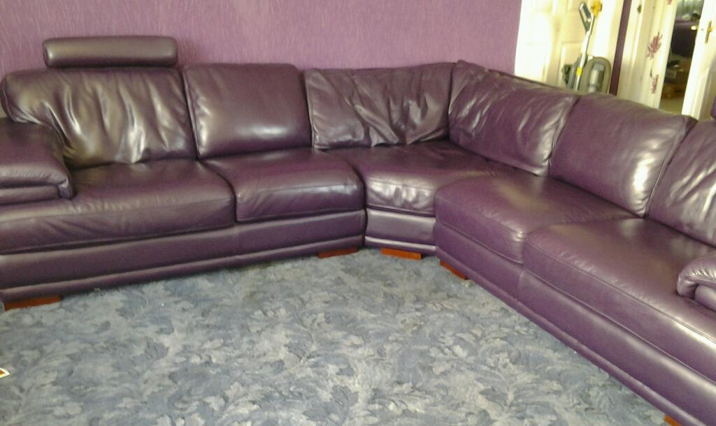 Large Purple Corner Leather Sofa United Kingdom Gumtree