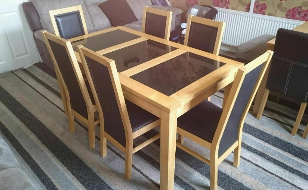 solid beech and granite dining table with 6 chairs bentley solid
