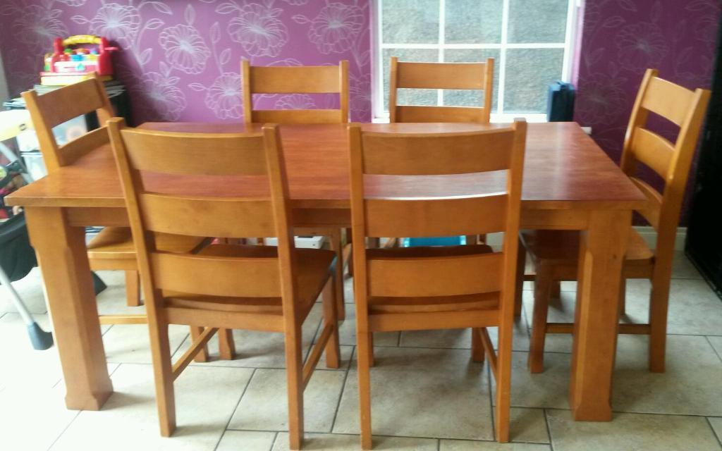 Solid Wood Table And Six Chairs United Kingdom Gumtree