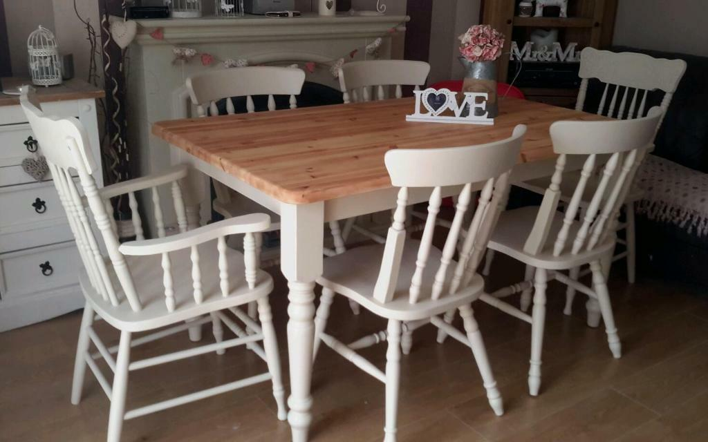 solid pine shabby chic dining table and chairs farmhouse painted
