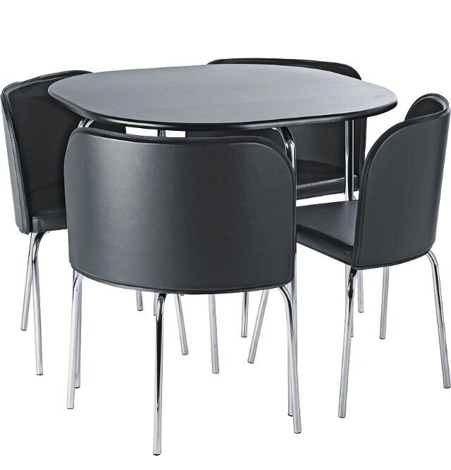 Compact black dining table 4 chairs buy sale and trade ads for Black table and chairs for sale