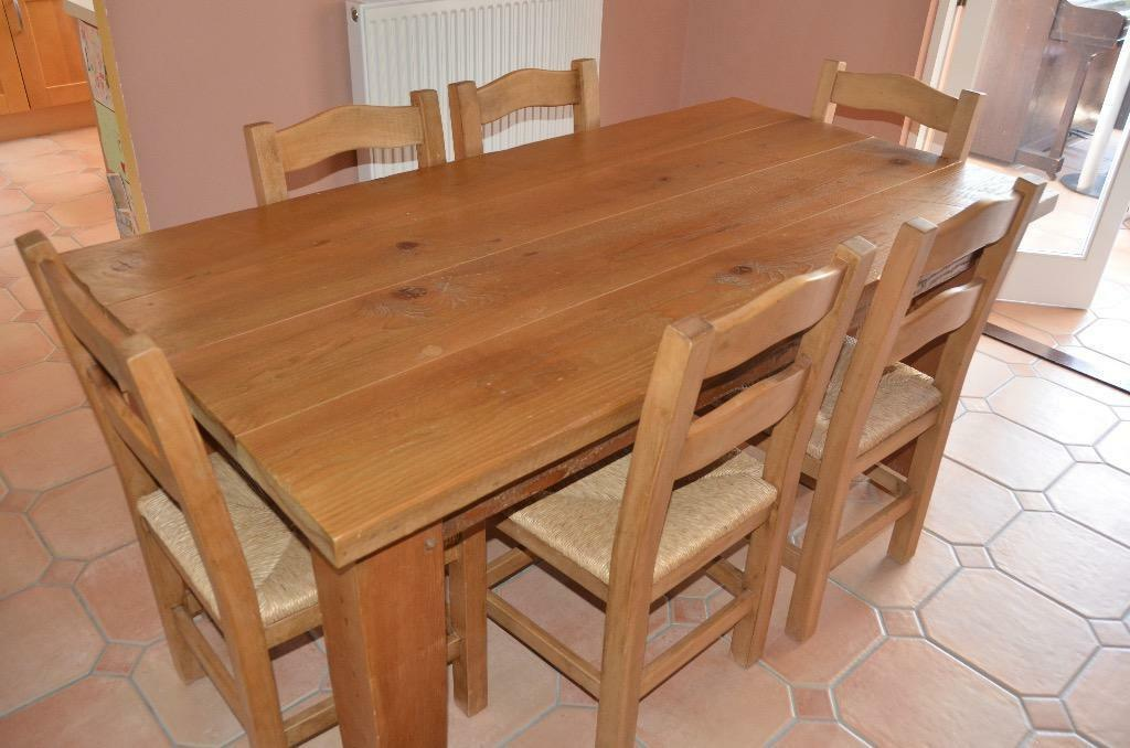solid pine dining table and six chairs united kingdom gumtree