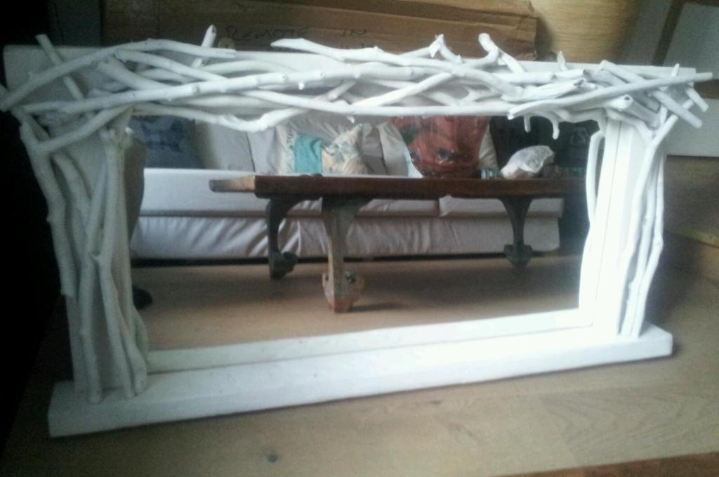 Large Handcrafted Driftwood Statement Mirror With Shelf