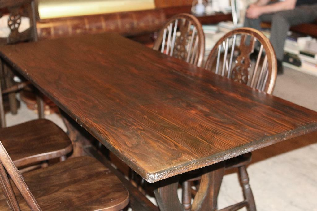 Pub Style Charming Table And Four Carved Ornate Matching Chairs United King