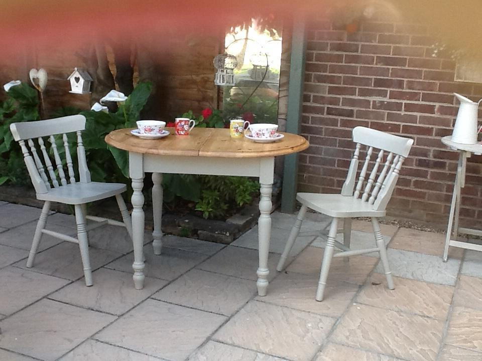 Pine Painted Extending Small Dining Table And Two Chairs