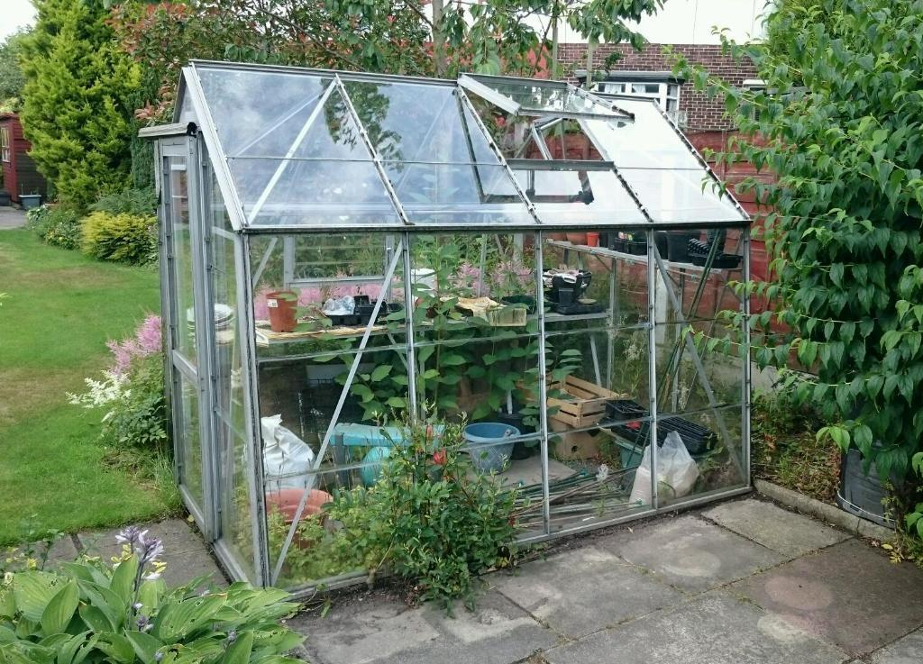 Used Metal Greenhouse Complete With Glass 6 X 8 United