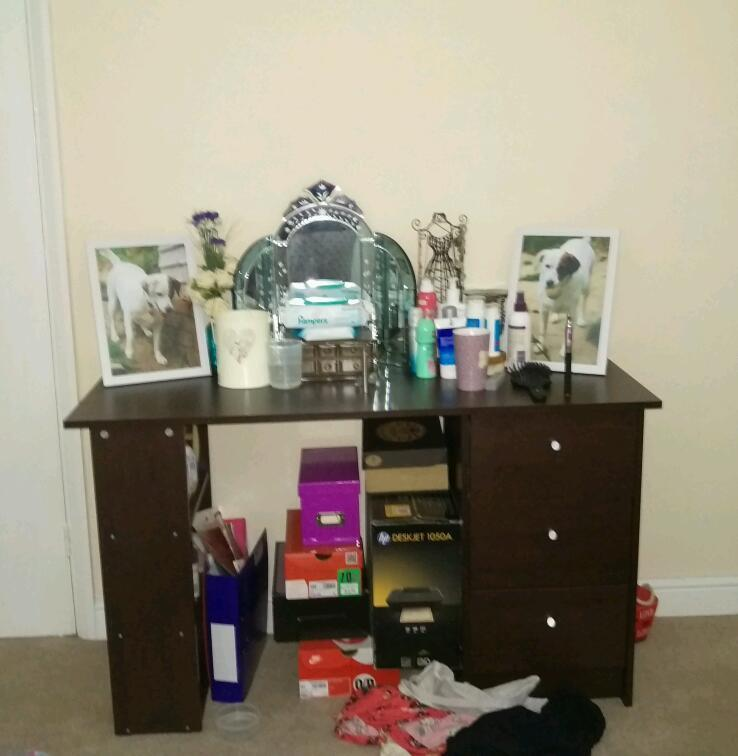 Three drawer with three shelves desk dressing table wenge effect united kingdom gumtree - Dressing wenge ...