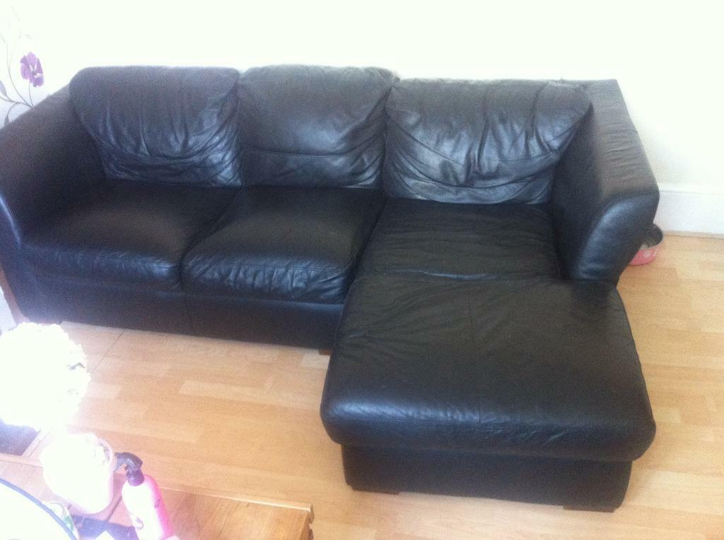 Three Seater L Shaped Black Leather Sofa And Arm Chair