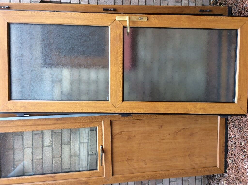 Pvcu exterior door and window unit colour cherrywood for Double glazed window units