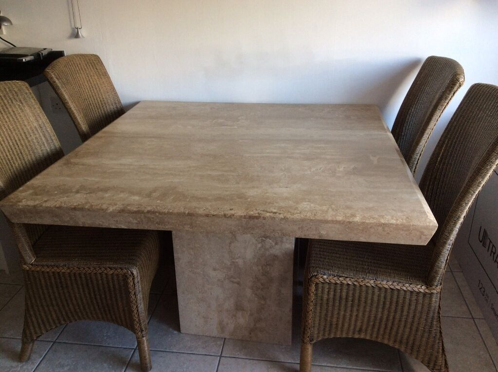 Marble Travertine Dining Table And 4 Chairs United