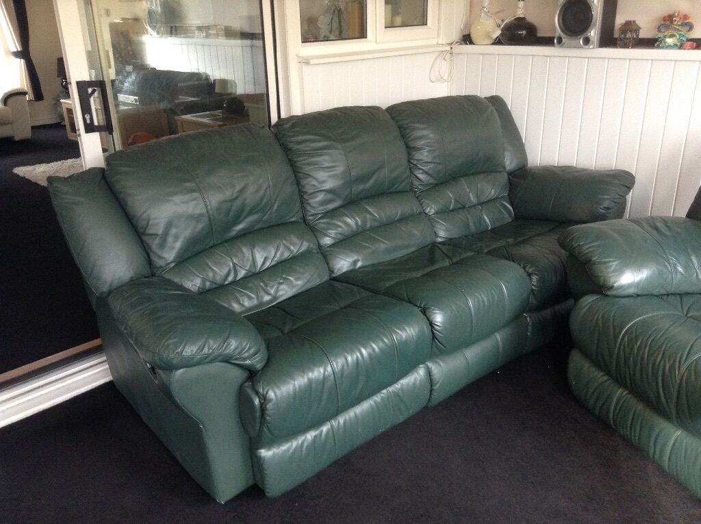 Dfs Green Leather Suite Two Three Seater Sofas With