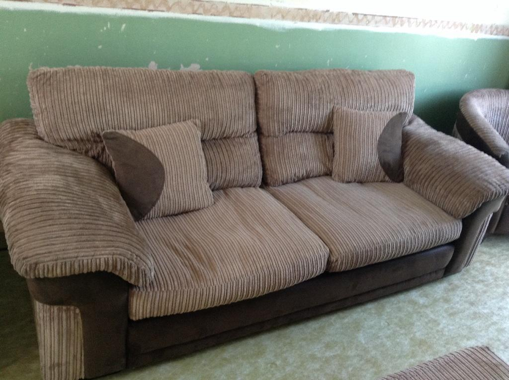 Brown Swede And Cord Effect Sofa 2 Chairs And Puffy With