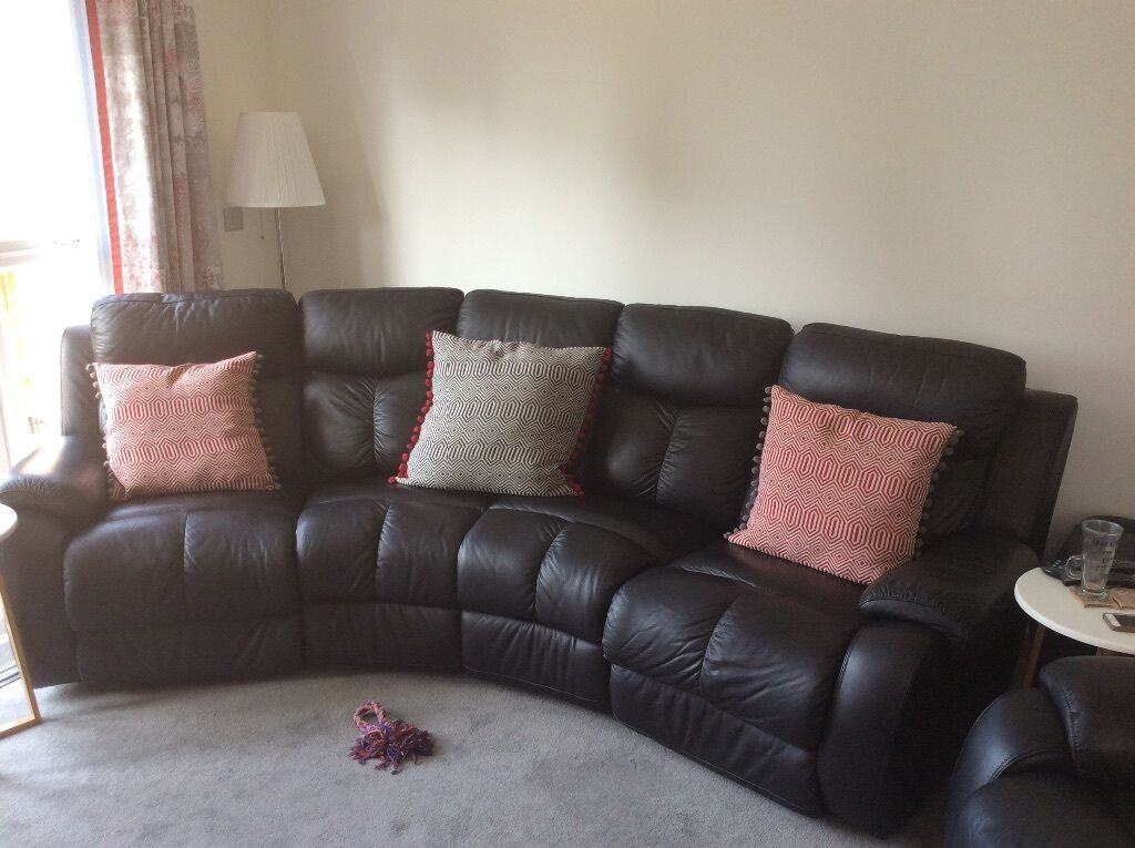 Curved Full Leather Electric Recliner Sofa And Chair And