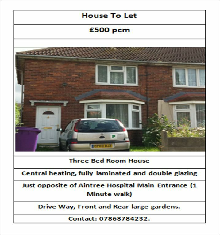 HOUSE FOR RENT NEAR AINTREE HOSPITAL LIVERPOOL