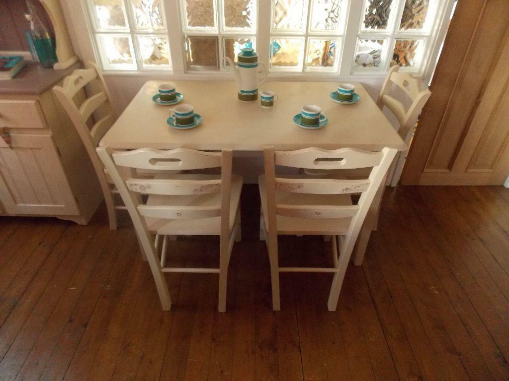 shabby chic cream dining table chairs united kingdom gumtree