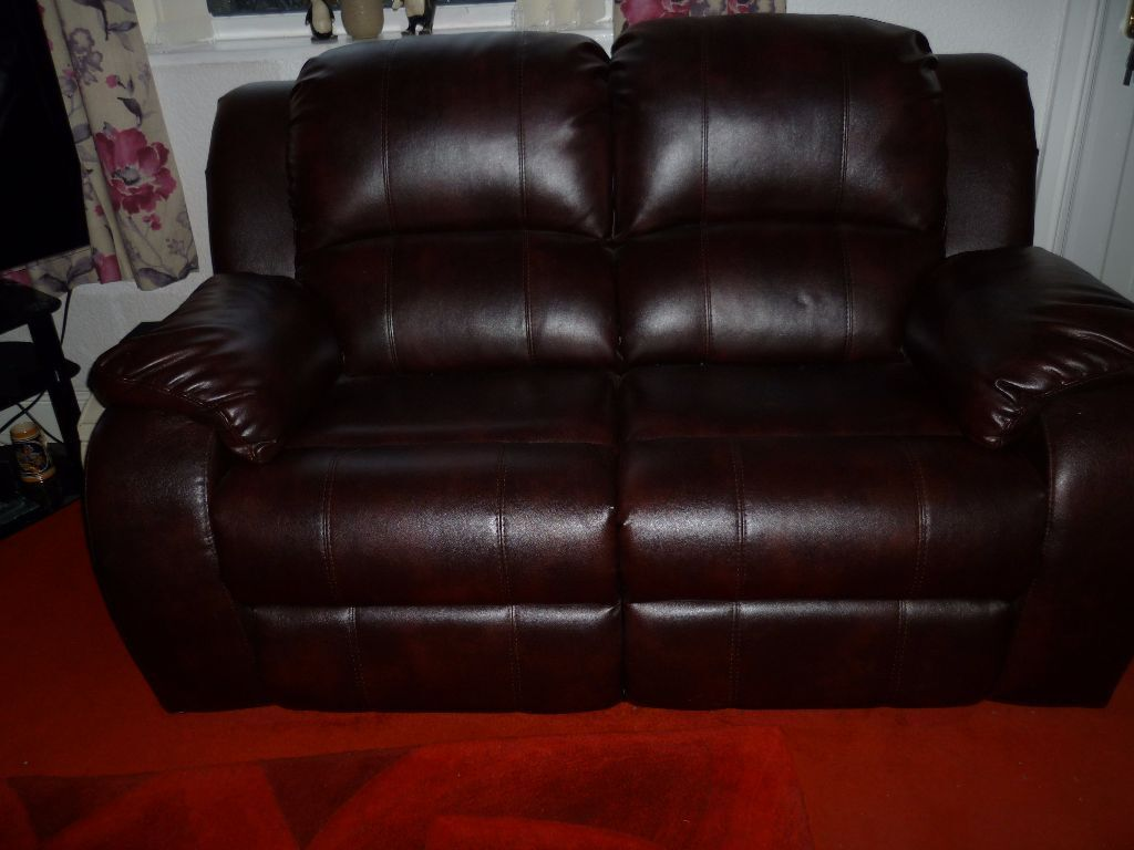 For sale 2 seater brown leather recliner sofa united for Tan couches for sale
