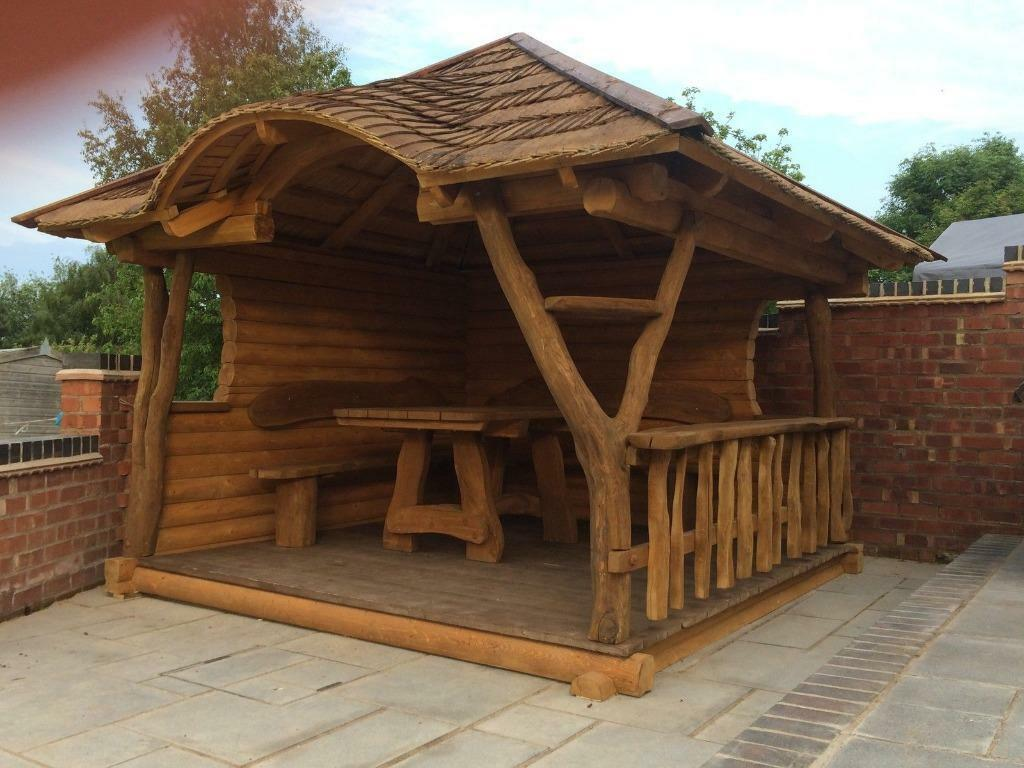 Log cabin solid oak garden gazebo bespoke log summer for Garden decking maidstone