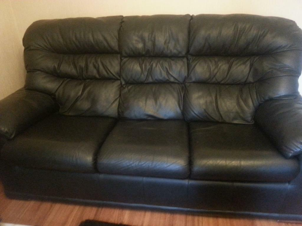 Black Leather Sofa 3x1x1 G Plan Great Condition United