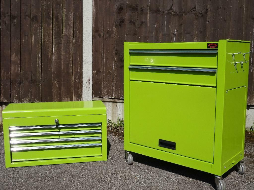 Large Tool Chest Top Cabinet Top Box And Rollcab Box us Ball Bearing Slides Lime Green Tool/art Chest