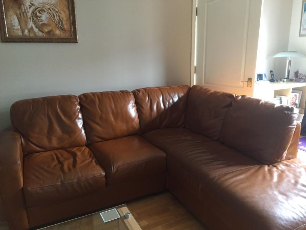 Corner sofa for sale tan leather in really good condition for Tan couches for sale
