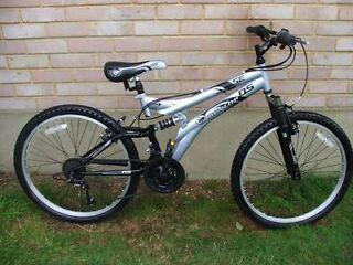 Boys Mountain Bike 24in Wheel 15in Frame 15 Gears Full Suspension
