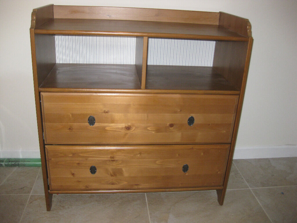 Ikea leksvik solid antique pine 2 drawer chest of drawers baby
