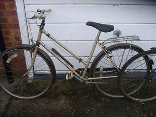 2 shopper bikes,,,gold 1 rides 100%,,,blue 1 ideal spares///repairs,,,no texts!!!!