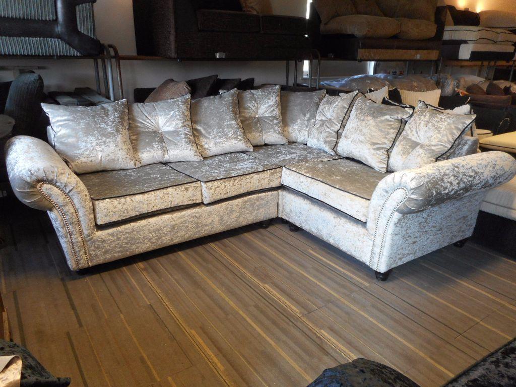 Crushed velvet corner sofa smileydotus for Crushed velvet sectional sofa
