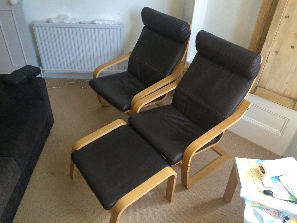 london we are selling two ikea poang chairs with brown leather