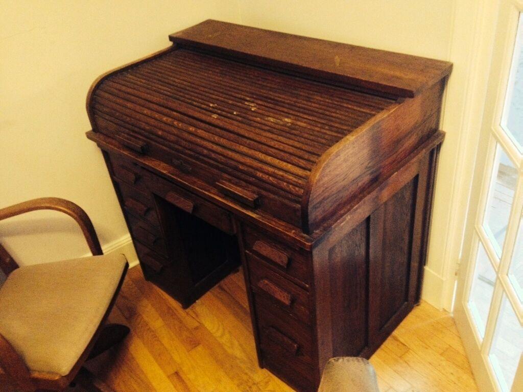 Oak Roll Top Vintage Desk