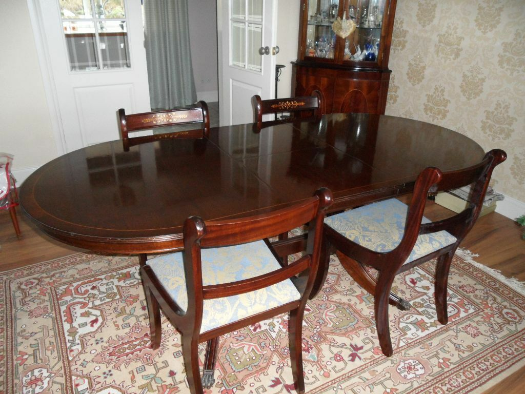 Mahogany Reproduction Regency Twin Pedestal Oval Dining Table With 4 Chairs